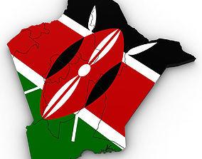 3d Political Map of Kenya