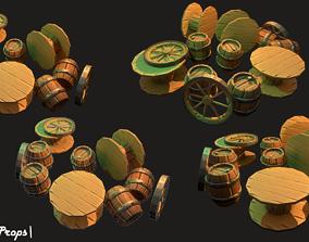 Wooden Props 3D asset
