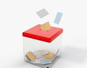 Glass Vote Box and Envelopes with PBR Textures 3D model