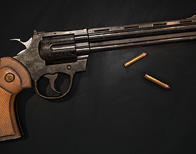 Revolver weapon 3D asset low-poly