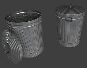 Metal Trash Can 3D asset