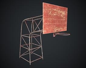 Basketball Hoop Red Worn Old PBR 3D model