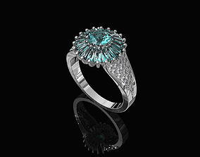 3D print model Ring With Halo of Baguette Fancy stones
