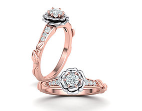 Flower Rose design Engagement ring Own design 0413 1