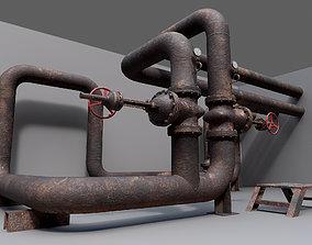 3D model Industrial vapor pipelines