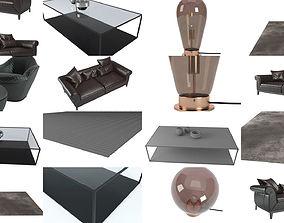 Modern dark living room set 3D