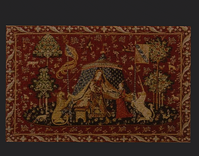 Lady and Unicorn Medieval Carpet 3D model