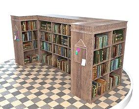Old Bookshelf 3D model game-ready