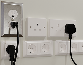 3D Plugs and Sockets or Outlets - Euro UK and US