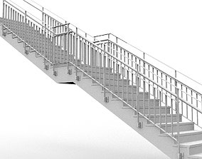 Architectural Staircase with Steel Handrail and Steel 3D