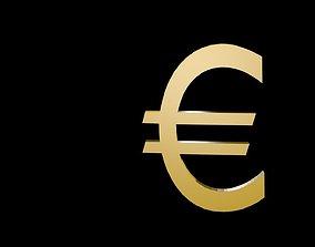 Low poly euro symbol 3D model