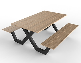 Pic Nic Table Aluminum And Wood 3D
