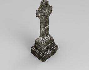 3D model game-ready rip Lowpoly Gravestone