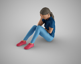 3D printable model Young Girl Covering Face head