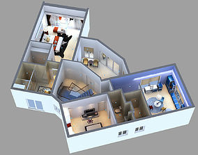 Detailed House floor 2 Cutaway 3D model
