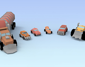 3D model Low Poly Raider Cars