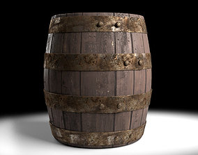3D asset Antique Wooden Barrel