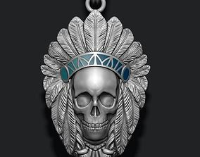 Native skull pendant 3D print model ritual
