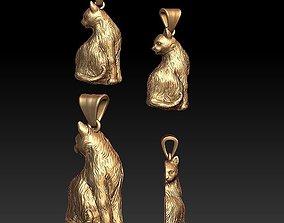 3D print model shave Cat pendant