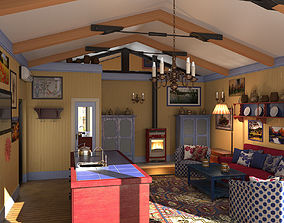 Fisherman house photoreal interior 3D model