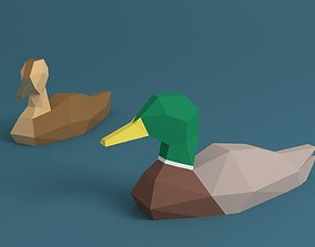 Low Poly Ducks 3D asset