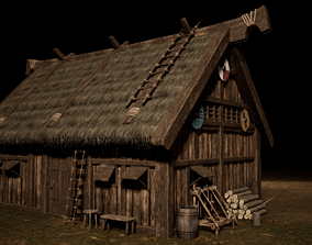 3D asset Viking Medieval House 02 with interior and props