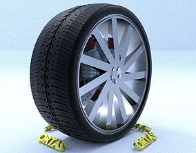 ORTAS CAR RIM 35 GAME READY RIM TIRE AND DISC 3D