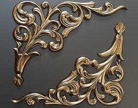 Classic baroque onlay corner element 3D printable model 1