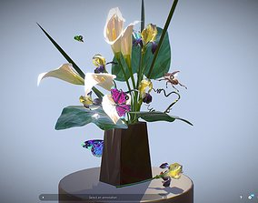 3D model Bouquet Calla Iris Polygon art
