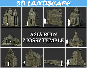 Low poly Mossy Mossy Ruin Asia Temple Pack 3D asset