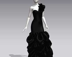lady 3D model Woman black ball gown