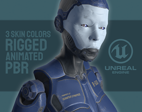 3D model animated realtime Sci-Fi robot