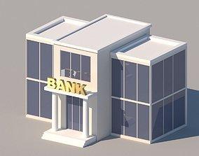 3D model Cartoon Low Poly Bank Building