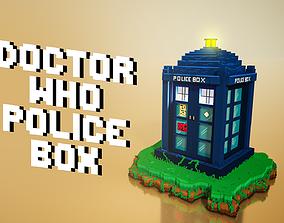 3D asset Doctor who police box tardis voxel design
