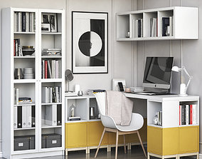 Ikea corner workplace with EKET and BILLY OXBERG 3D