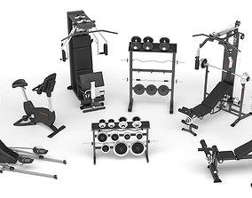 set 3D model Gym Equipment Collection