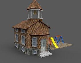 Cartoony Grade School 3D model low-poly