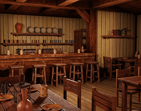 3D asset Medieval Inn with Interior