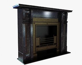 3D model Black marble vintage fireplace