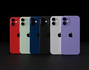 Apple iPhone 12 Mini In All Official Colors and 3D model 1