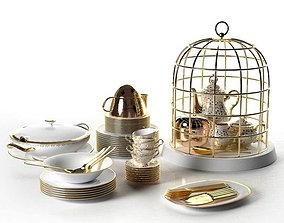 Tureen Stacks of Plates Cutlery and Cage Tea Set 3D model