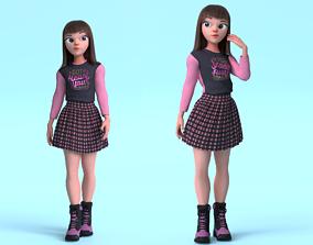 Cartoon Teen Girl 3D model realtime