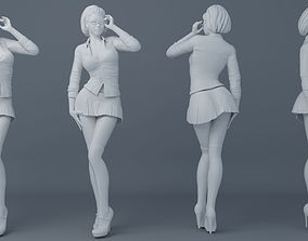 Female students wear school uniforms 3D printable model