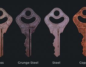 Metal key for the door lock 3D model game-ready