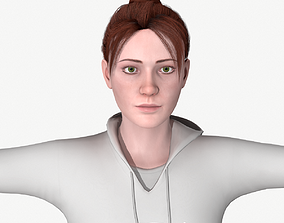 Young woman rigged 3D asset