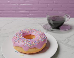 3D model animated Donut and Coffee