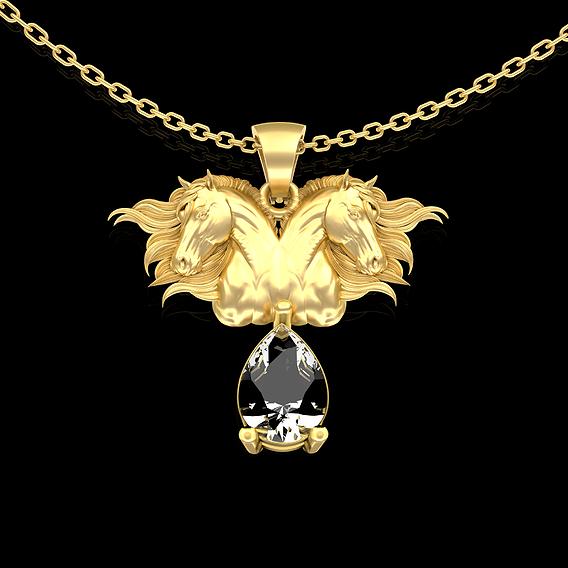 Wind Horse Head Mirror Pendant jewelry Gold 3D print model