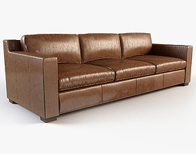 3D Restoration hardware - Collins leather sofa with