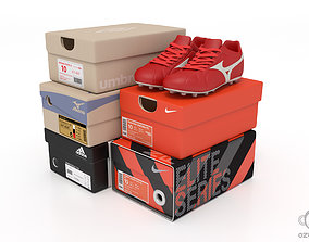 3D Paper shoe box with soccer football boot