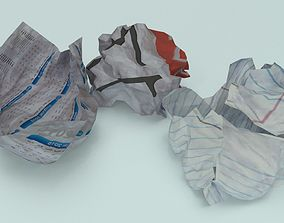 crumpled paper ball - Game-Ready 3D model low-poly